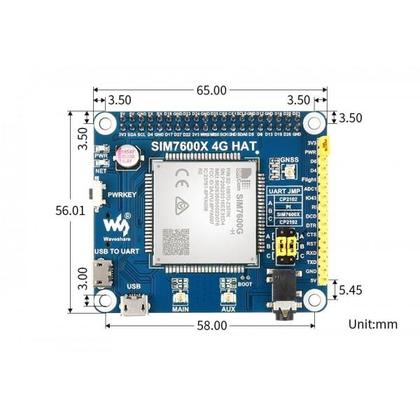 Waveshare SIM7600G-H 4G HAT - for Raspberry Pi