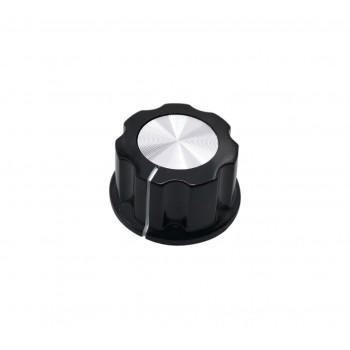 Potentiometer Knob Black-Silver Bakelite - 26.8mm - MF-A03