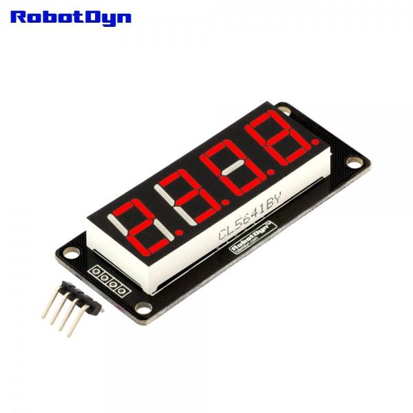 RobotDyn Segment Display Module - 4 Character- Decimal - Red - TM1637
