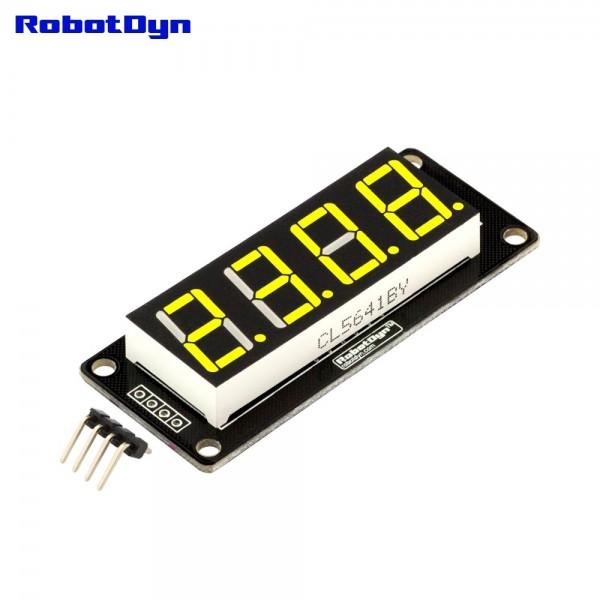 RobotDyn Segment Display Module - 4 Character - Decimal - Yellow - TM1637
