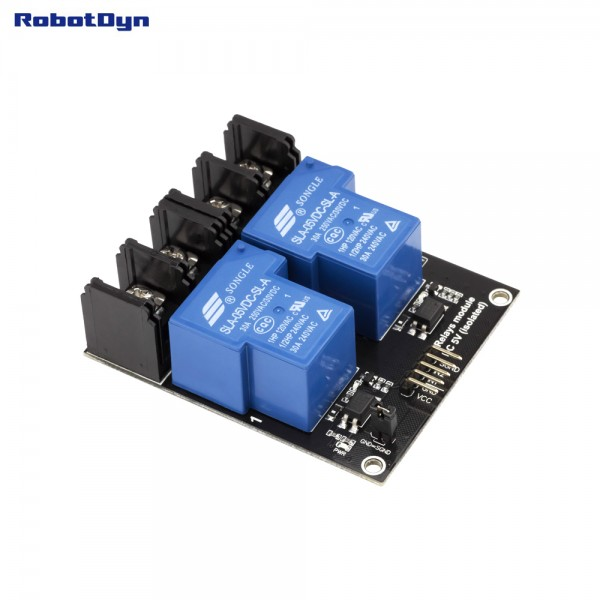 RobotDyn 5V relay 2-channel high-active - 30A