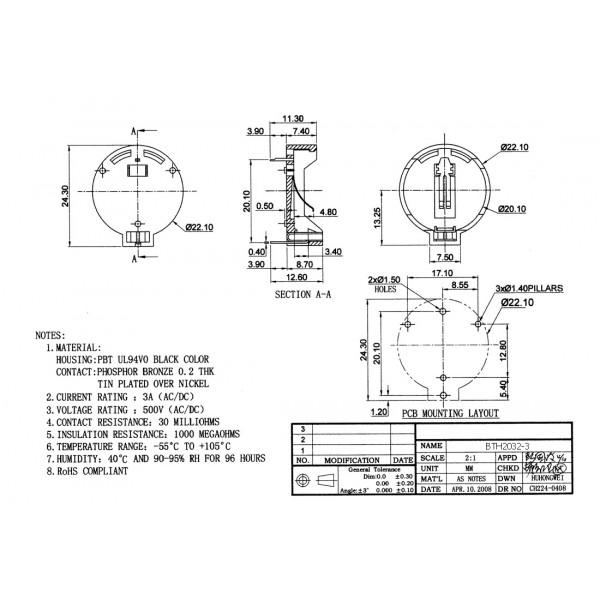 CR2032-LIR2032 Battery holder for PCB - Flat
