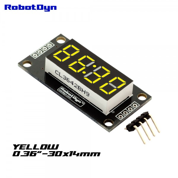 RobotDyn Segment Display Module - 4 Character - Clock- Yellow - TM1637 - Mini