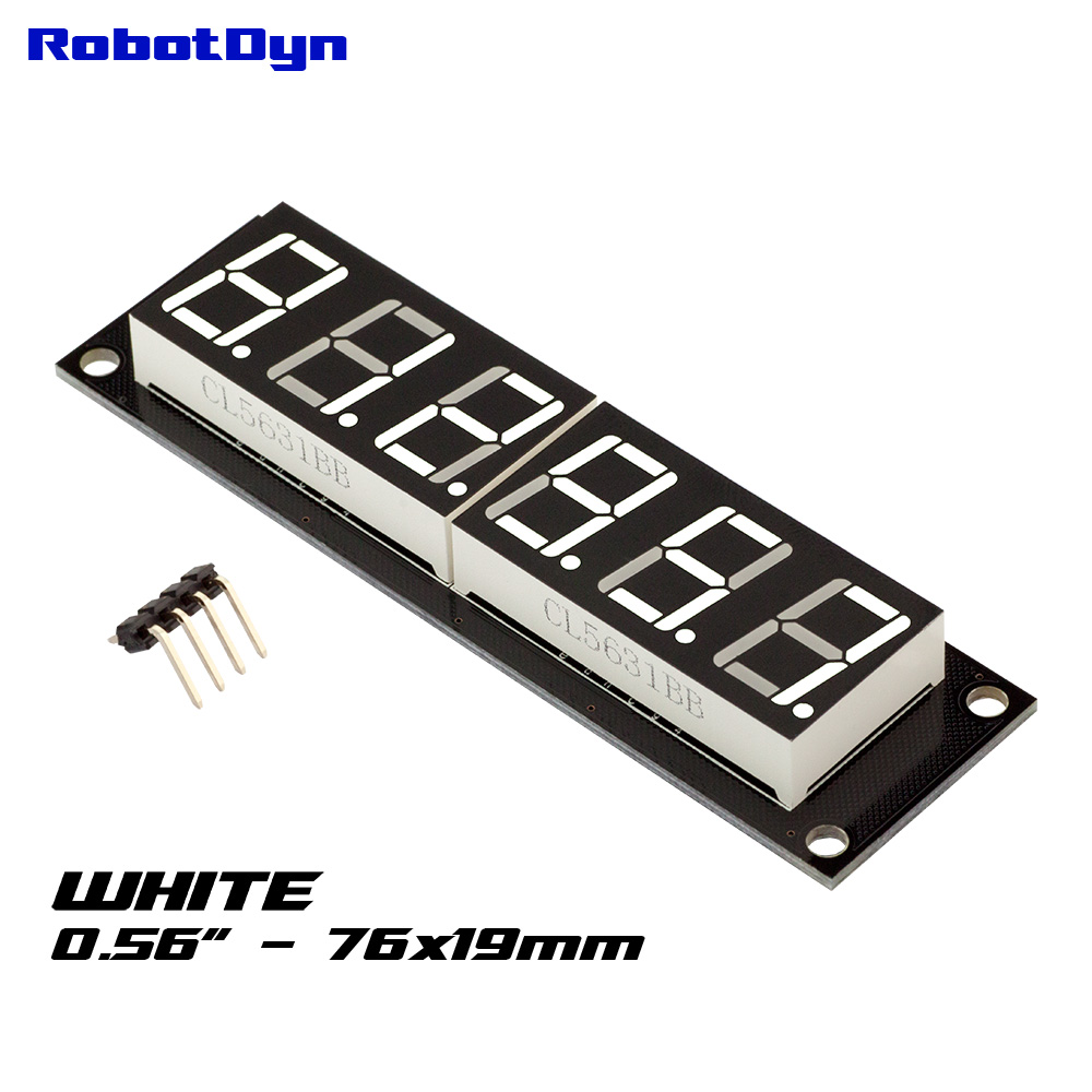 RobotDyn Segment Display Module - 6 Character - Decimal - White - TM1637 -  RDTM1637-WHITE6DEC