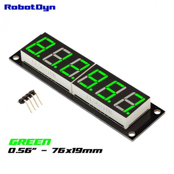 RobotDyn Segment Display Module - 6 Character - Decimal - Green - TM1637
