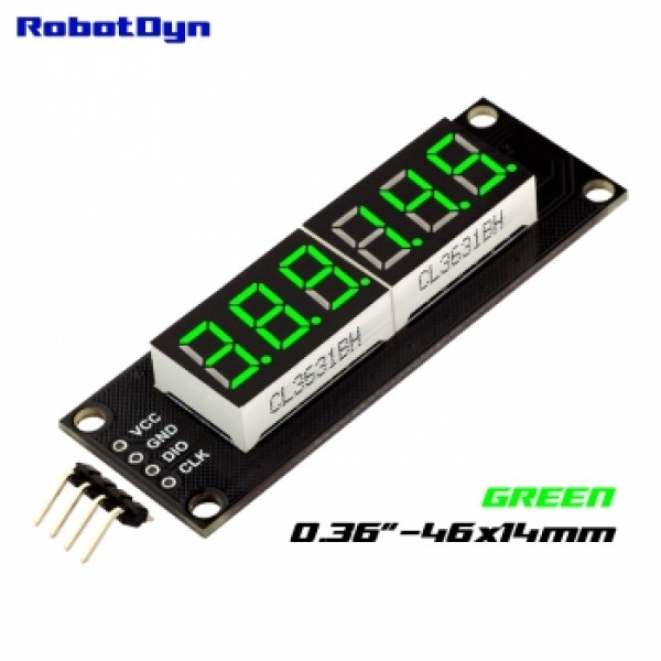 RobotDyn Segment Display Module - 6 Character - Decimal - Green - TM1637 - Mini