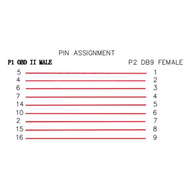 RS232-DB9 naar OBD2 Kabel voor CAN-Bus Shield - 1.1m