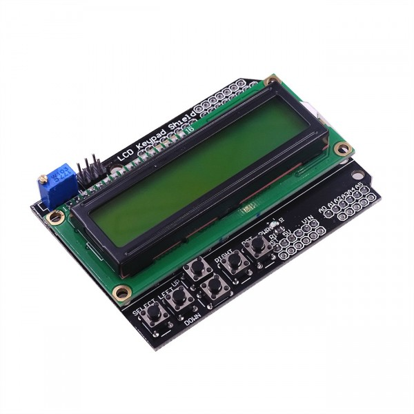 LCD Keypad Shield with black text and green-yellow backlight