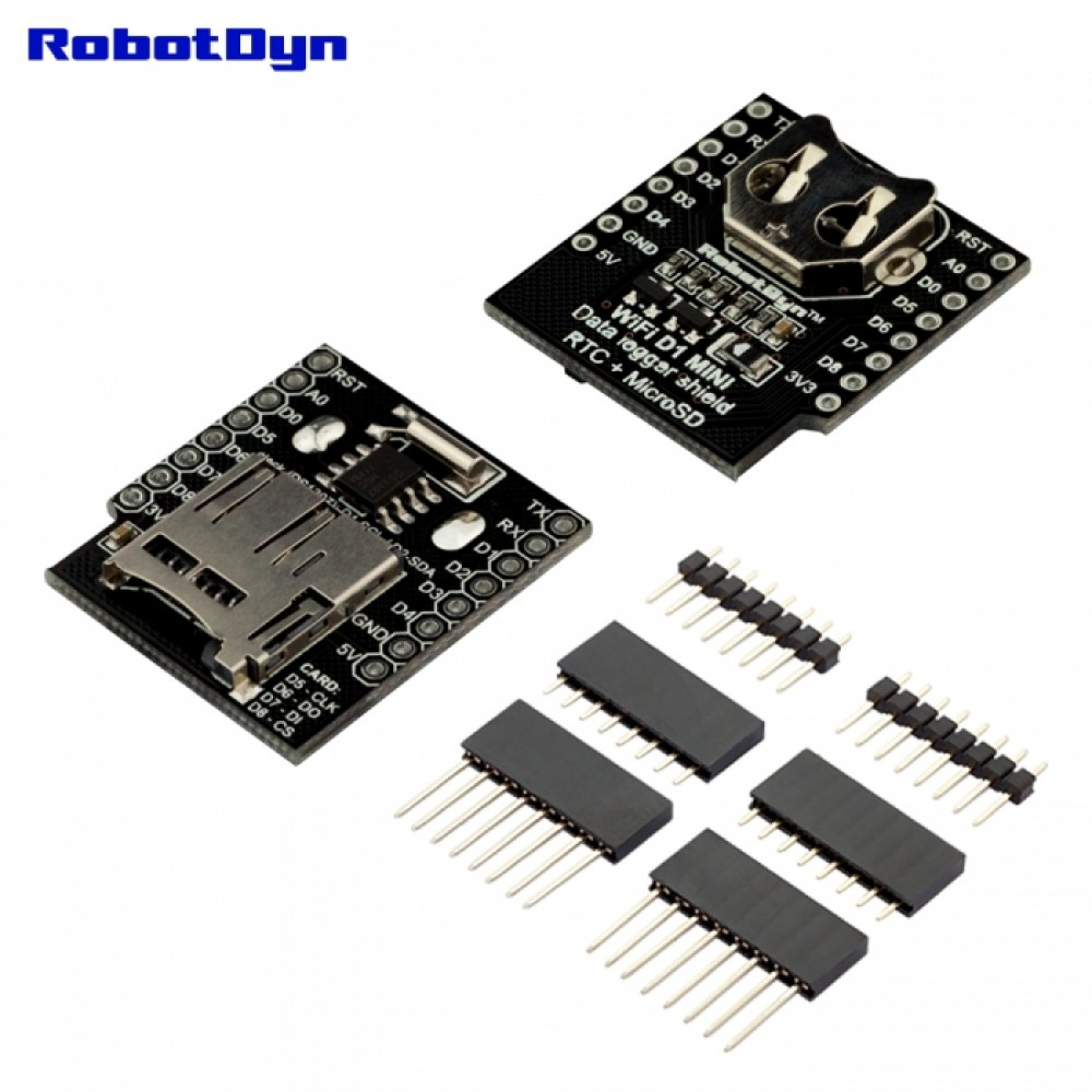 RobotDyn RTC DS1307 and microSD Shield for D1 Mini incl  Battery -  RDD1RTCSDSHIELD