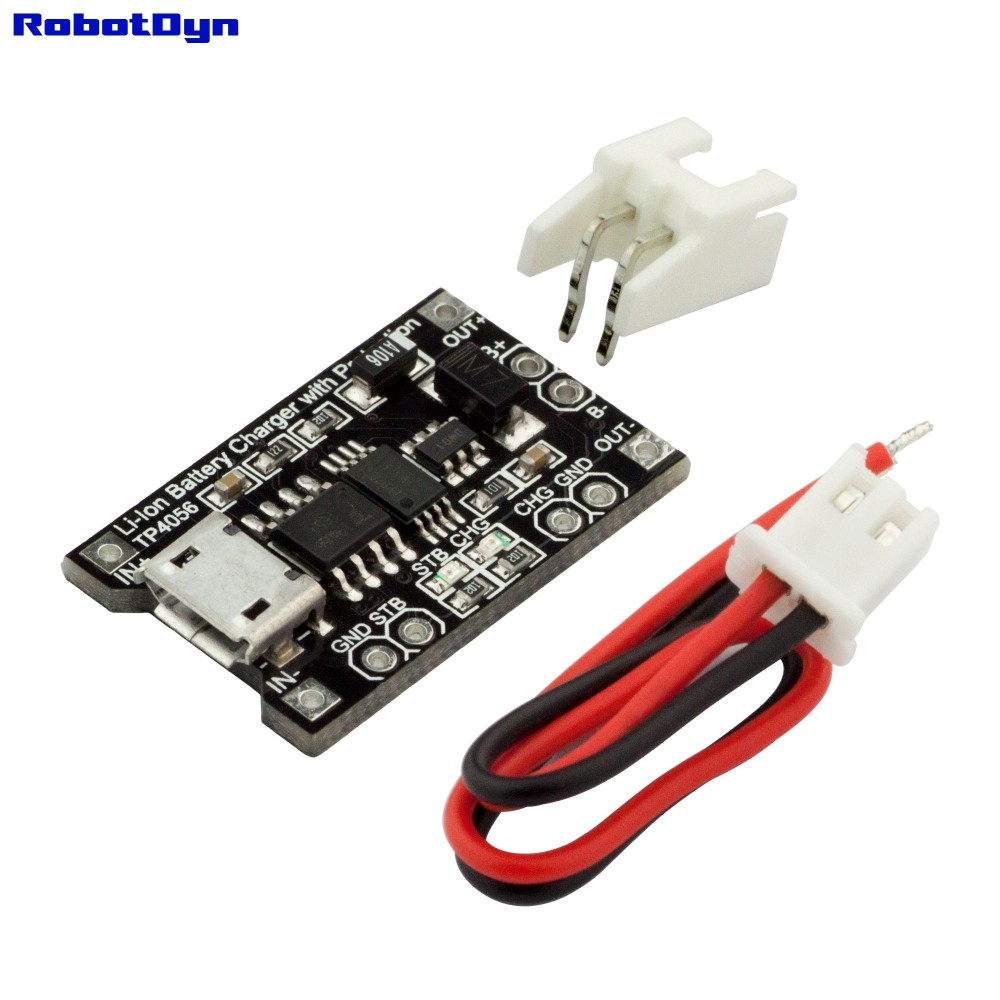 RobotDyn TP4056 Micro-USB Li-ion lader 1A met Li-ion protection circuit