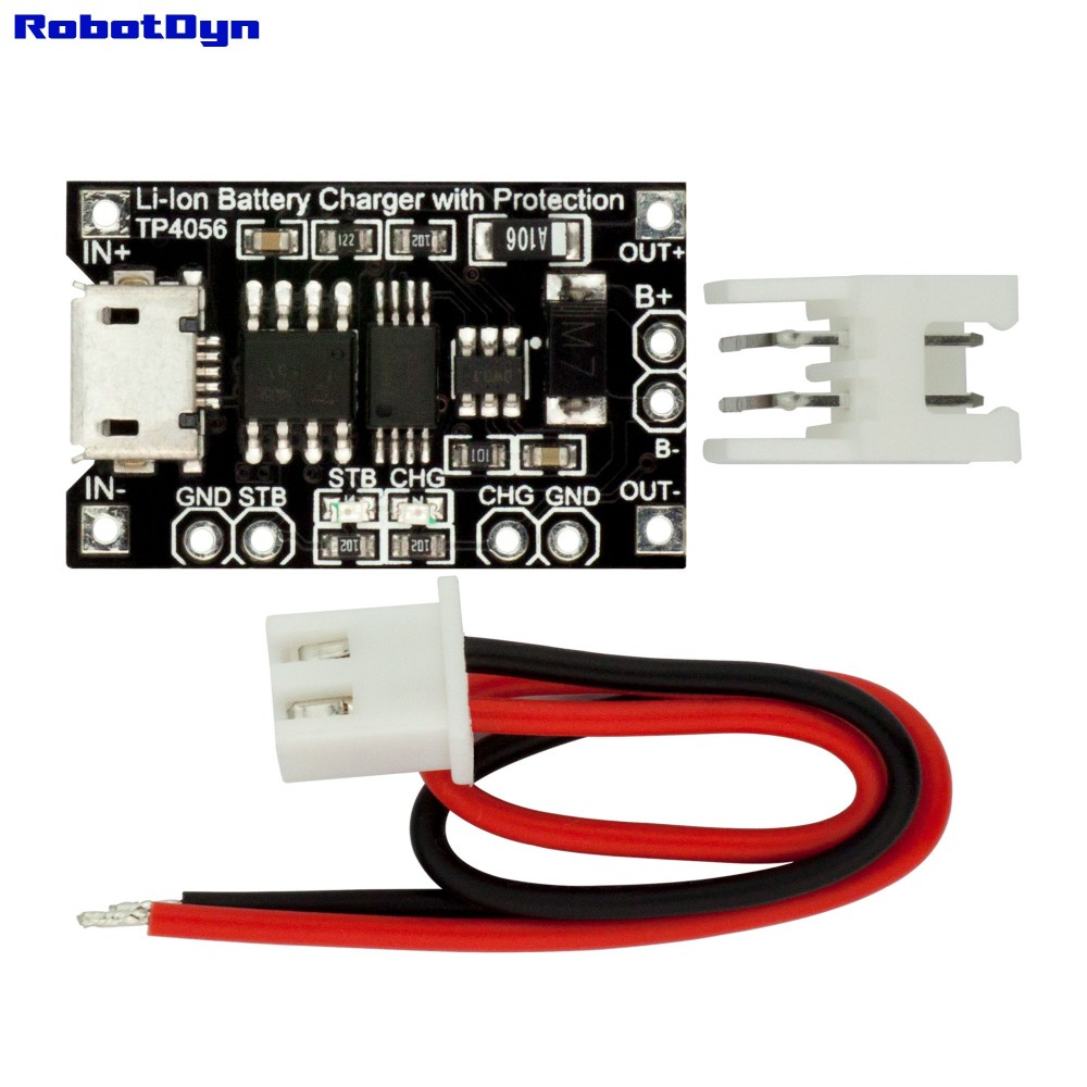 Robotdyn Tp4056 Micro Usb Li Ion Charger 1a With Protection Circuit Images Of 18650 Battery