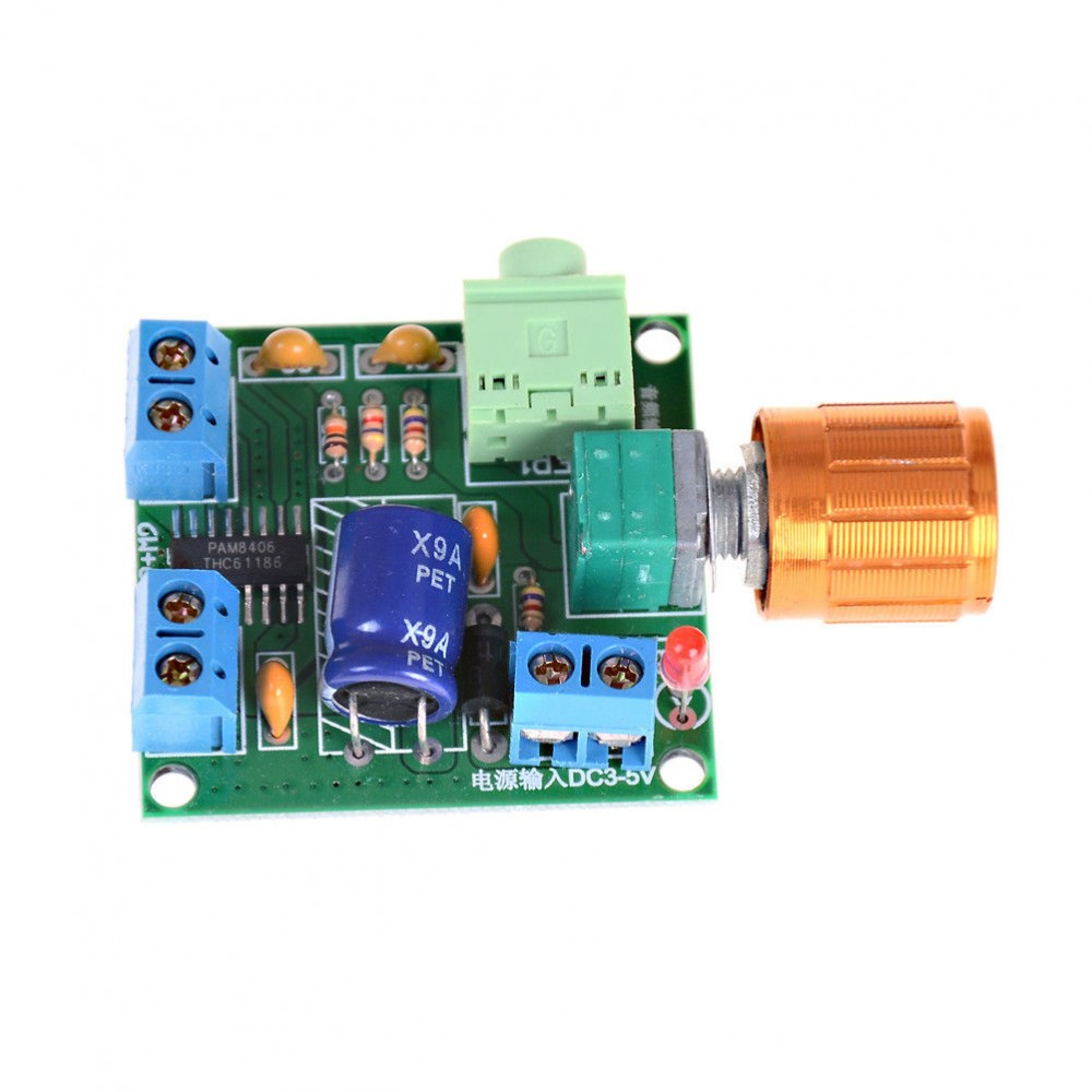 2x6w Stereo Audio Amplifier Mini 5v Pam8406 Volume Control With 1 W Circuit Screw Terminals