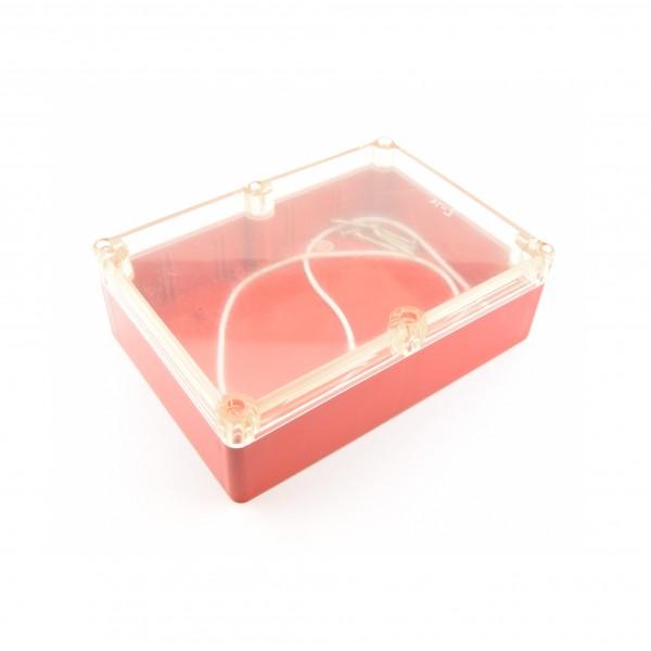 Kradex Enclosure 176x126x57mm - IP65 - Red - Transparent - Z74H