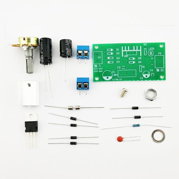 LM317 Verstelbare Spanningsregelaar Module - Standaard Potmeter - DIY Kit
