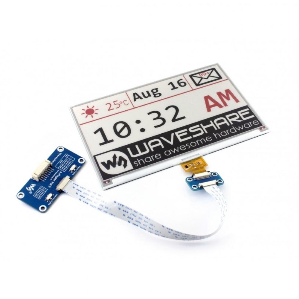 Waveshare 7.5 inch E-Ink E-Paper Display HAT (C) - 3 Kleuren - Zwart-Wit-Rood