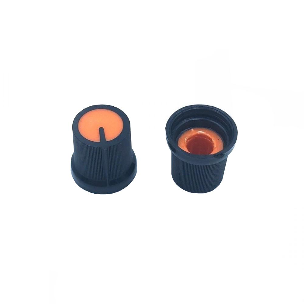 Potentiometer Knob Black-Orange Flat