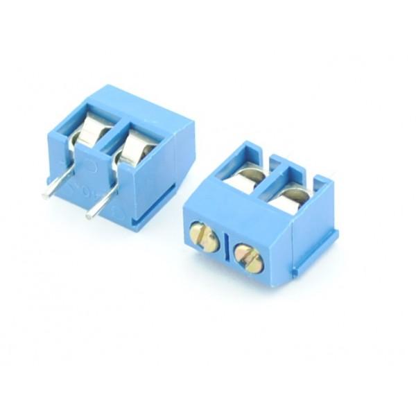 2 Pin Schroef Terminal Block Connector 5mm Afstand - Blauw