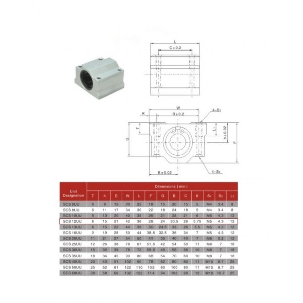 SCS12UU Linear Ball Bearing