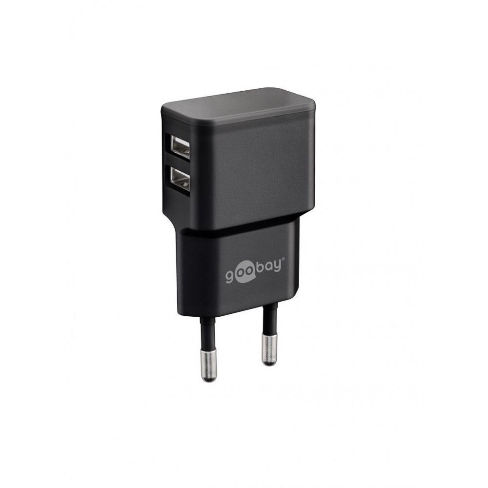 Goobay 44951 Dual USB Voeding - 5V 2.4A - Zwart