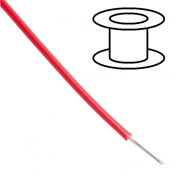 Alpha Wire - Single core - Solid - Ø1.5mm 0.33mm2 - Red - 30m