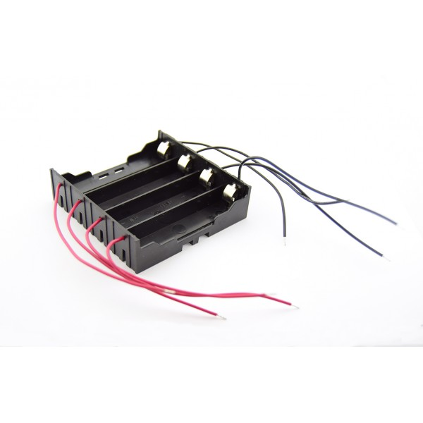4x 18650 Battery Holder - Leaf Spring Contacts - Wires per Cell
