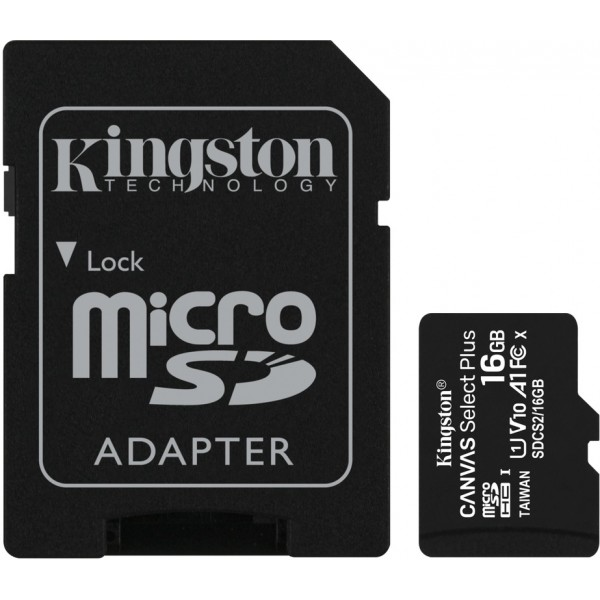 Kingston Canvas Select Plus 16GB Class 10 UHS-I A1 microSD card with SD-kaart adapter