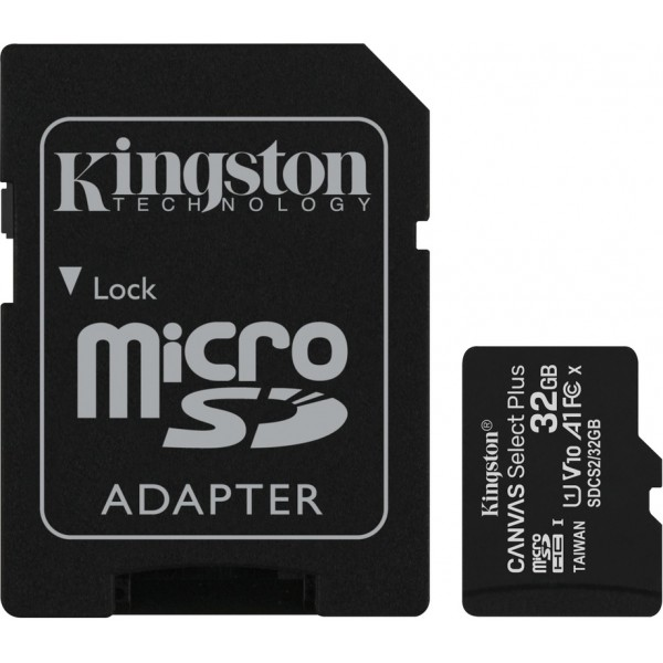 Kingston Canvas Select Plus 32GB Class 10 UHS-I A1 microSD card with SD-kaart adapter
