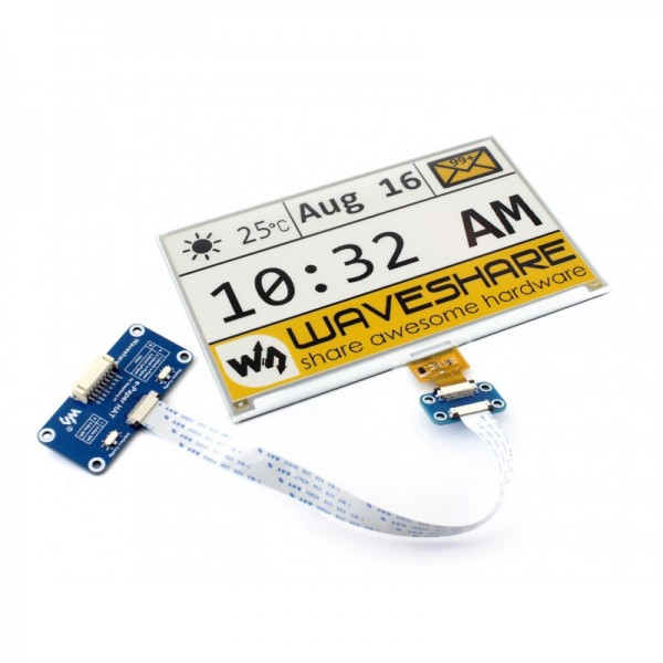 Waveshare 7.5 inch E-Ink E-Paper Display HAT (C) - 3 Colors - Black-White-Yellow