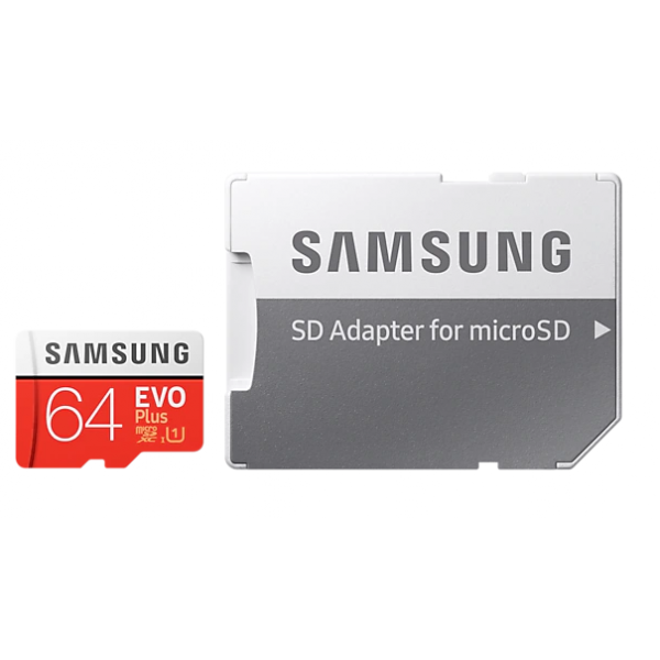 Samsung EVO Plus 64GB Class 10 UHS-I U1 microSDXC card with SD-card adapter