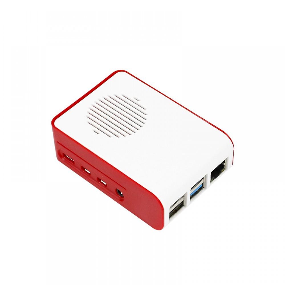 Raspberry 4 Behuizing met Ventilator - Rood-Wit