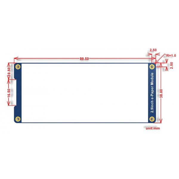 Waveshare 2.9 inch E-Ink E-Paper Display - 3 Kleuren