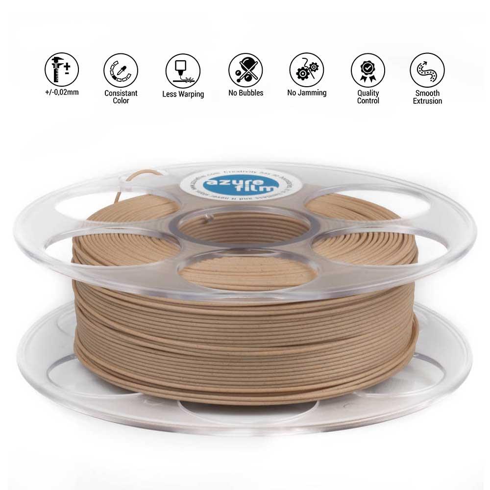 AzureFilm PLA Wood Filament 1.75mm - 750g - Dennenhout