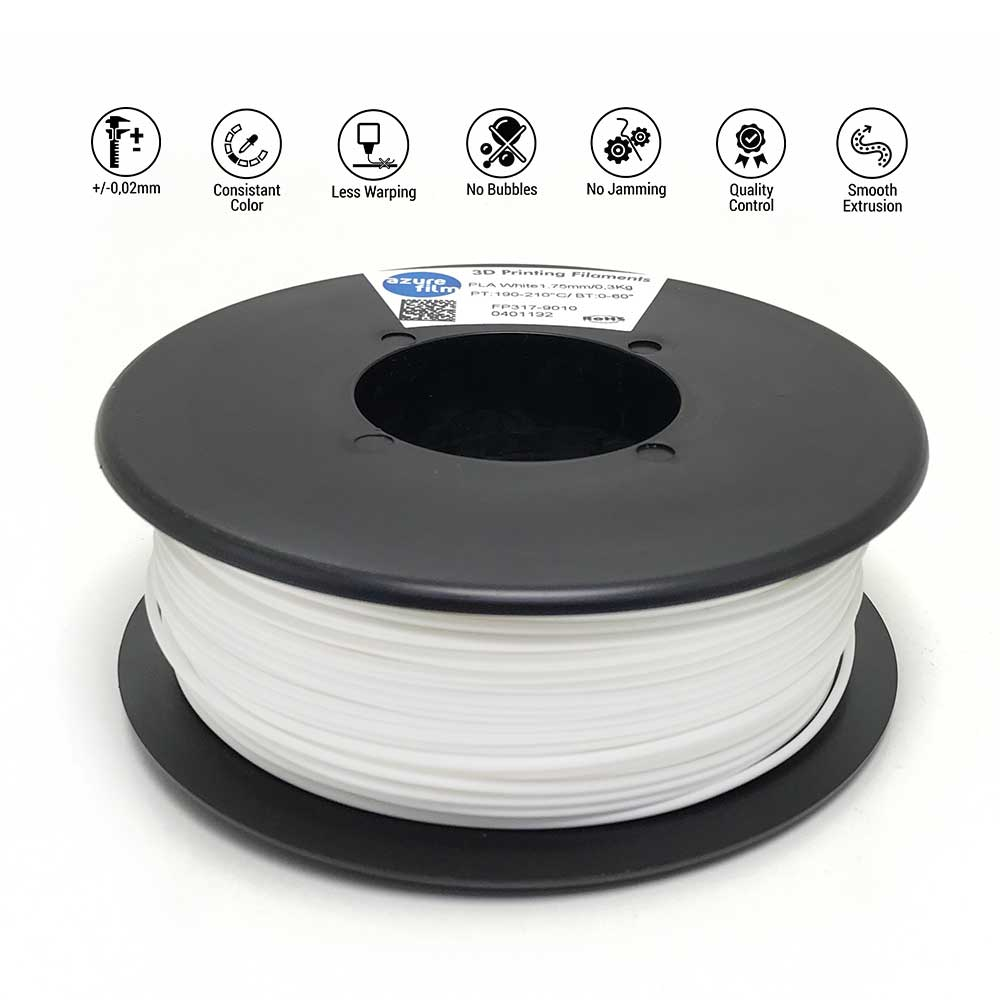 AzureFilm TPU 98A Filament 1.75mm - 300g - Wit