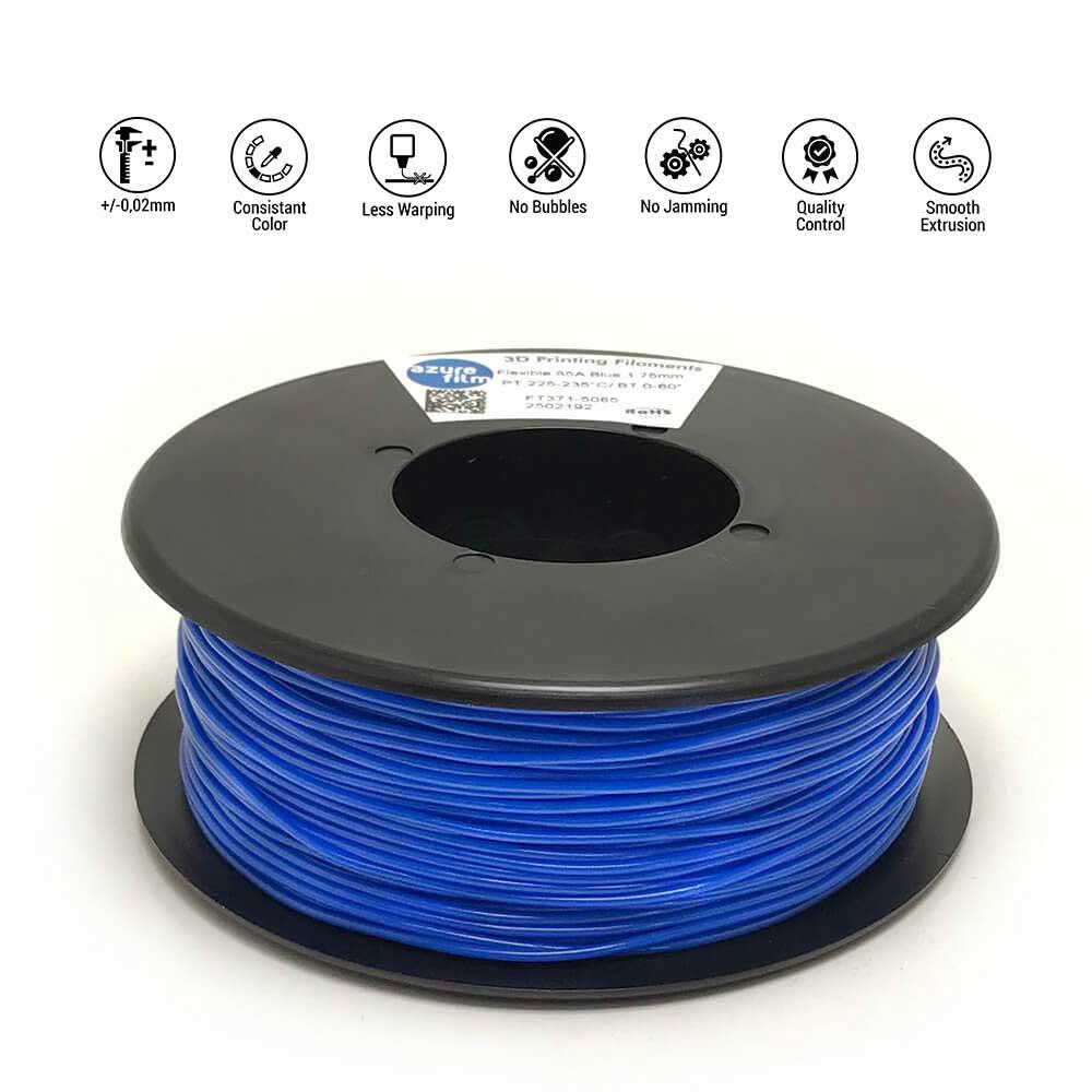 AzureFilm TPU 85A Filament 1.75mm - 300g - Blauw