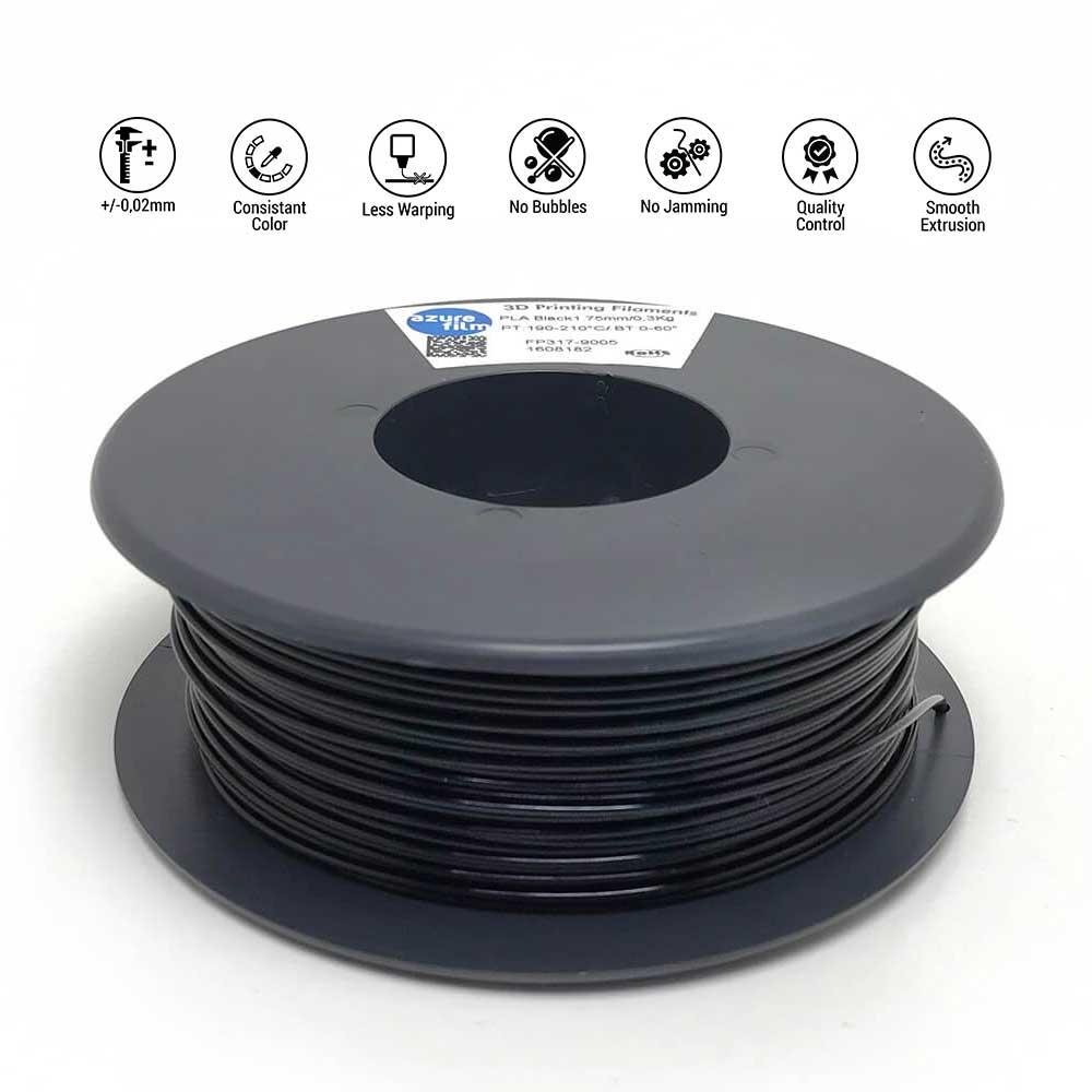 AzureFilm TPU 85A Filament 1.75mm - 300g - Zwart