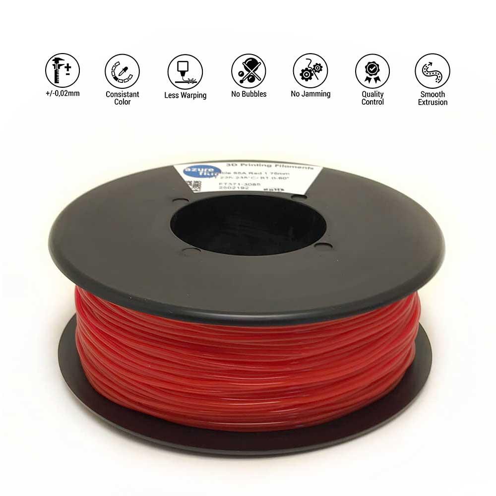 AzureFilm TPU 85A Filament 1.75mm - 300g - Rood