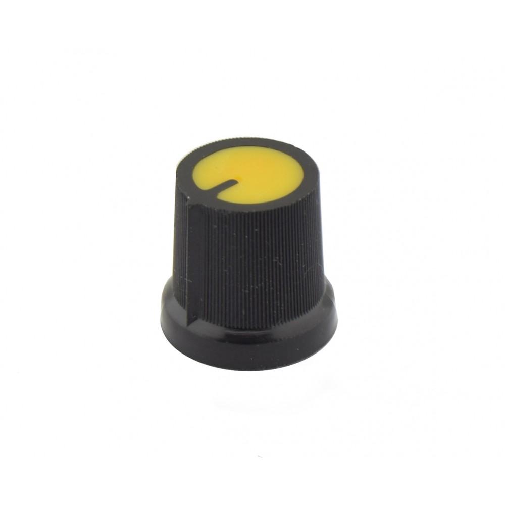 Potmeter Knop Zwart-Geel Plat