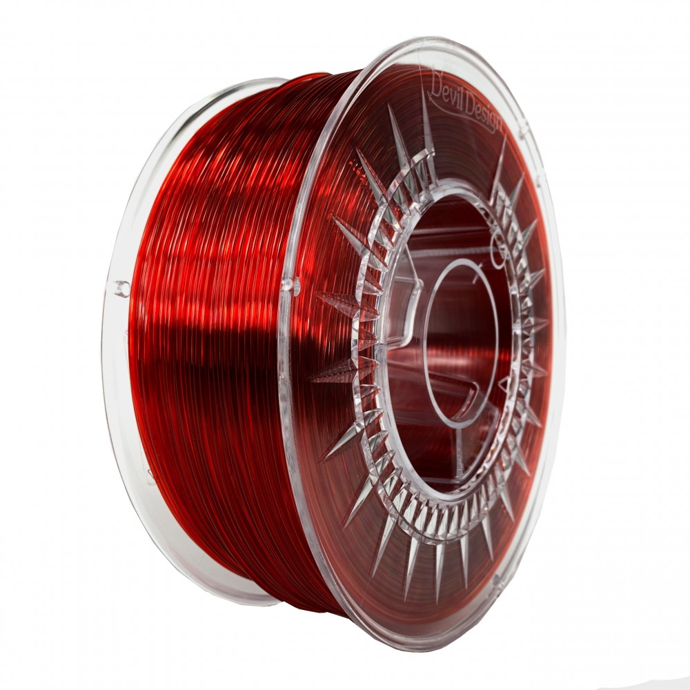Devil Design PMMA Filament 1.75mm - 1kg - Robijnrood Transparant