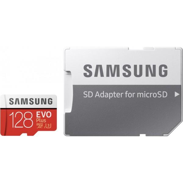 Samsung EVO Plus 128GB Class 10 UHS-I U3 microSDXC card with SD-card adapter