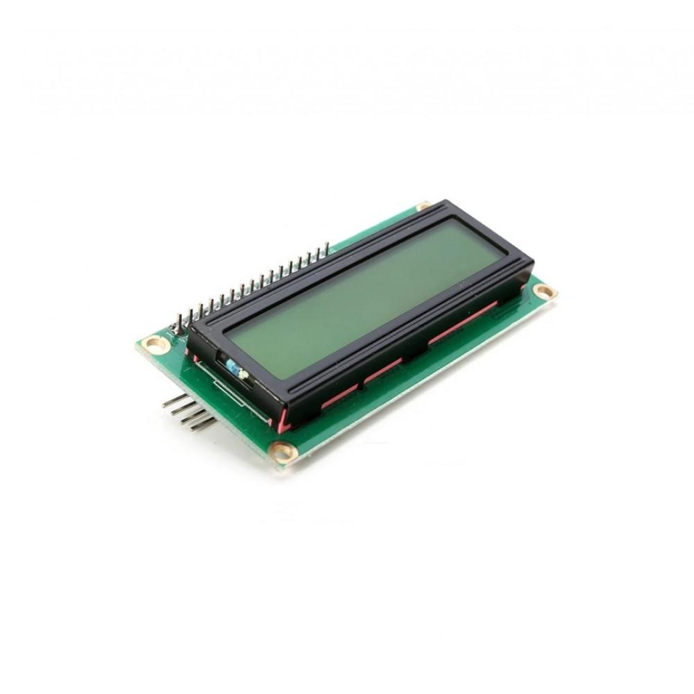 LCD Display 16*2 karakters met zwarte tekst en groen-gele backlight - Met I2C Backpack