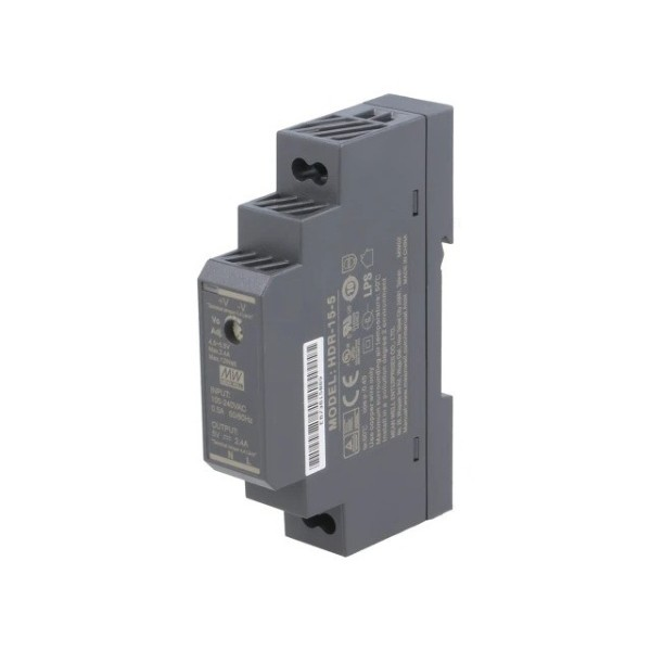 Mean Well Voeding - 5V 2.4A - DIN Rail Power Supply - HDR-15-5