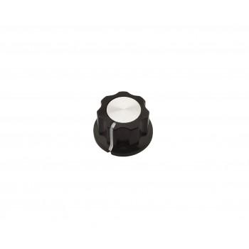 Potentiometer Knob Black-Silver Bakelite - 18.8mm - MF-A01