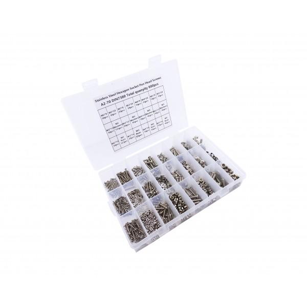 Bolt Nut and Washer Set - M2-M3-M4-M5 - including 4 Allen Keys - 880 pieces