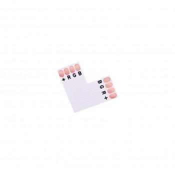 LED Strip L-Shaped Coupler - 4p 10mm - Standard RGB-WS2813-WS2815 - 10 pieces