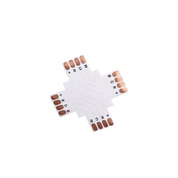 LED Strip X-Shaped Coupler - 4p 10mm - Standard RGB-WS2813-WS2815 - 10 pieces