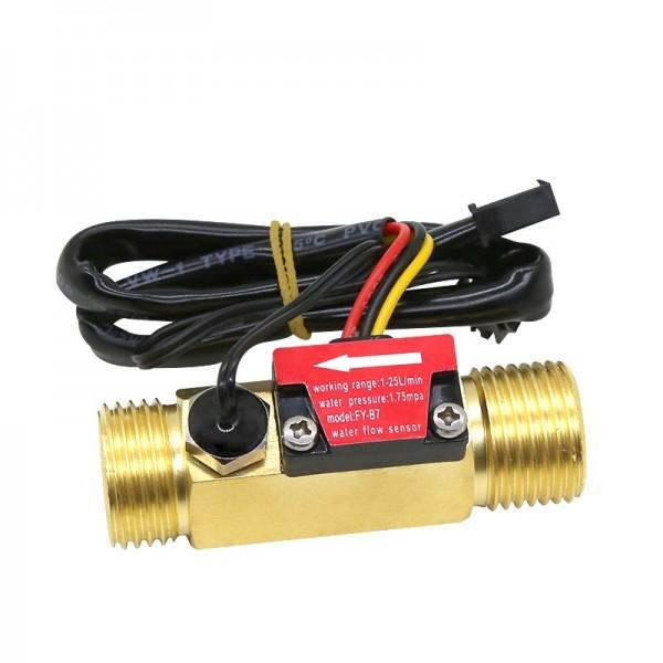 """YF-B7 Water Flow Sensor met Temperatuur Sensor - Messing - G1/2"""""""