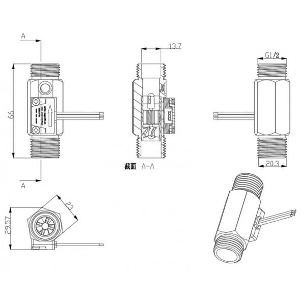 YF-B7 Water Flow Sensor with Temperature Sensor - Brass - G1/2