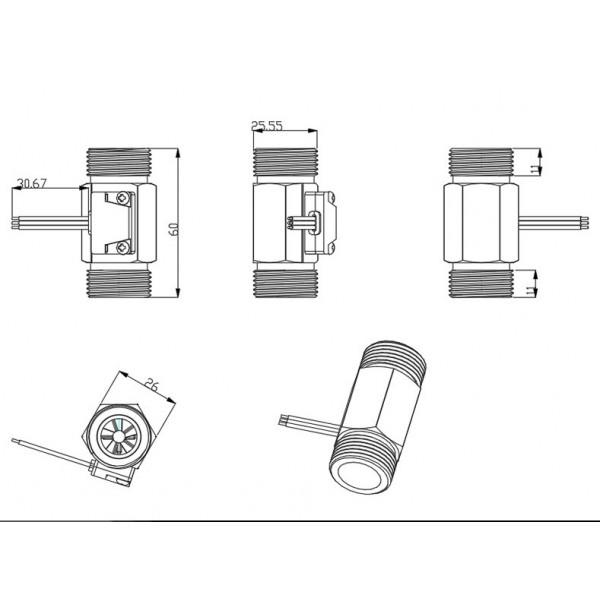 YF-B6 Water Flow Sensor - Brass - G3/4