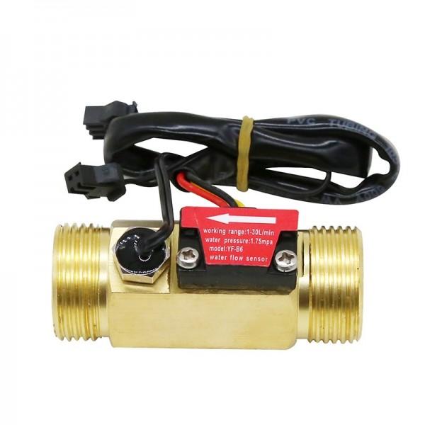 """YF-B6 Water Flow Sensor met Temperatuur Sensor - Messing - G3/4"""""""