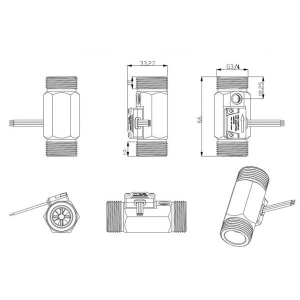 YF-B6 Water Flow Sensor with Temperature Sensor - Brass - G3/4